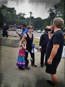 Shelton, with megaphone, and her daughter in Ferguson. (Photo submitted)