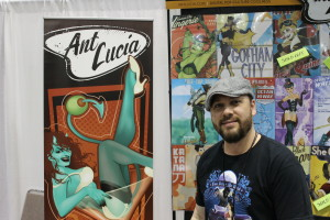 (Photo by Andy Lyons) Artist Ant Lucia at his booth during Planet Comicon 2015.