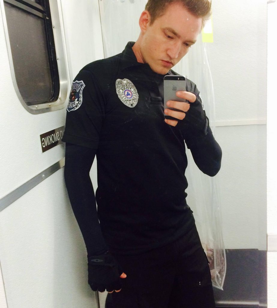 "(Photo Submitted) Steven Cooper snaps a selfie in his costume as a police officer in ""Orange is the New Black."""