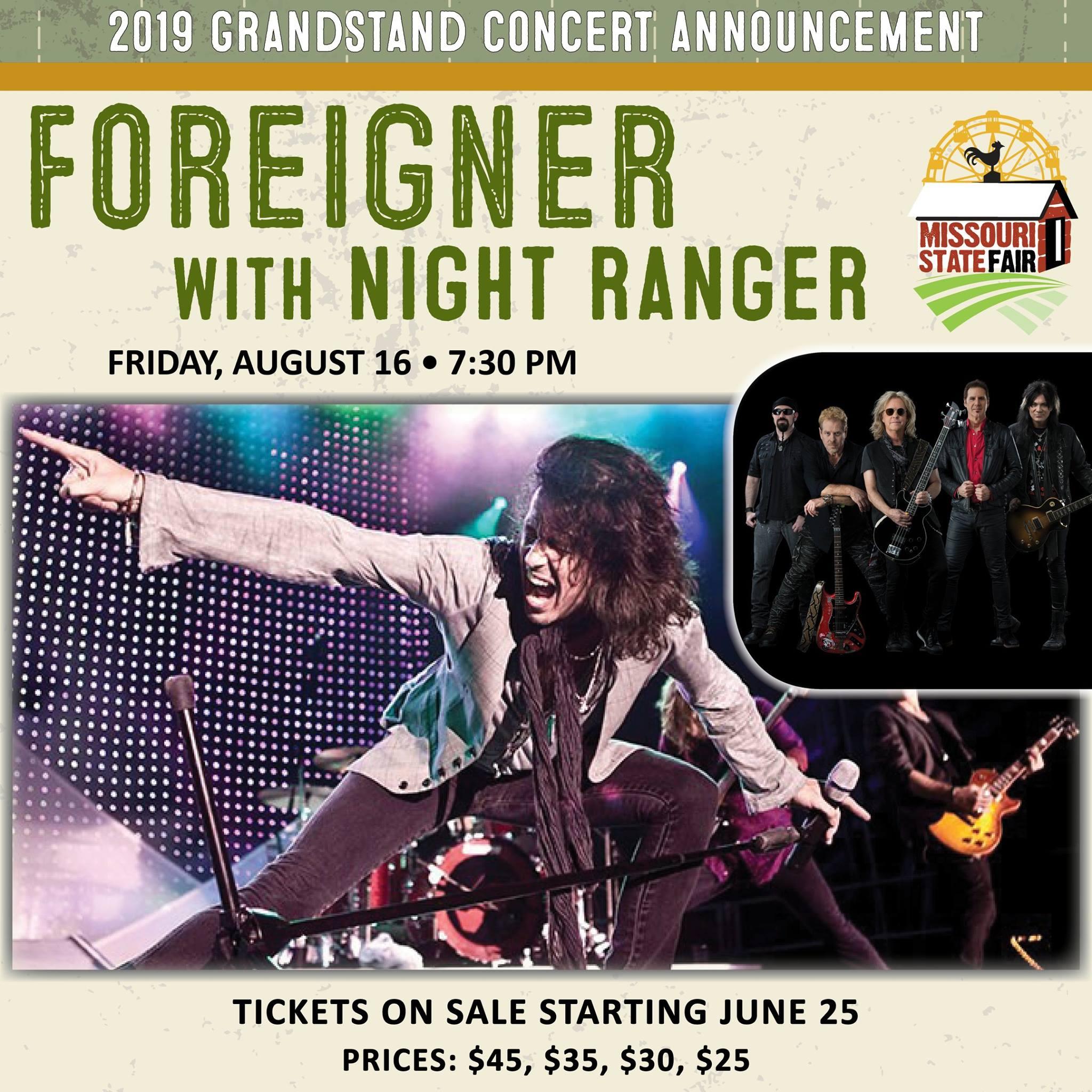 Missouri State Fair announces Foreigner, Night Ranger for 2019 concert series